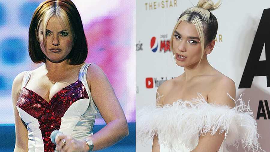 Dua Lipa se sumó a la tendencia de las mechas delanteras, que llevó la 'Spice' Geri Halliwell