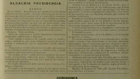 Medidas para luchar contra el brote de gripe en Madrid (1918).