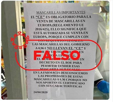 Cartel informando sobre la inexistencia de las siglas CE en las mascarillas proporcionadas por el Gobierno de España.