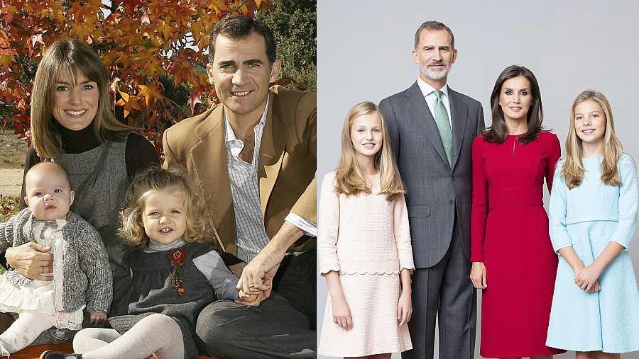 El posado de los Reyes junto a sus hijas, Leonor y Sofía, en 2017 y en 2020