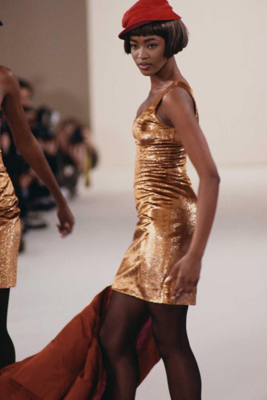 Supermodel Naomi Campbell Modeling Perry Ellis Dress