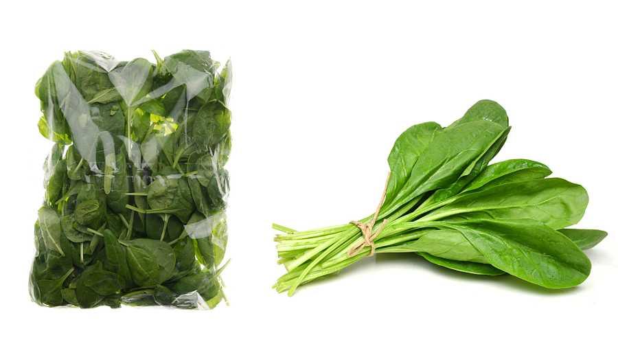 Espinacas frescas embolsadas o en manojo