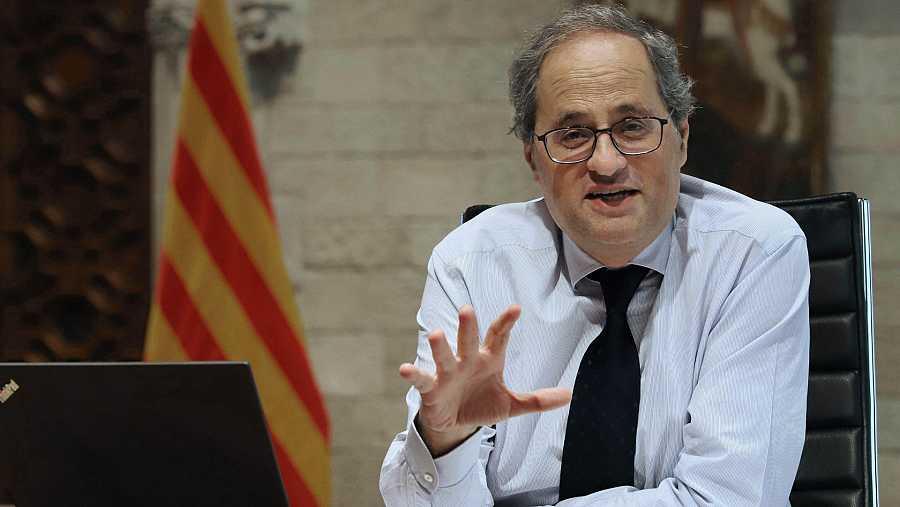 El presidente de la Generalitat, Quim Torra, durante la videoconferencia entre Pedro Sánchez y los presidentes autonómicos.