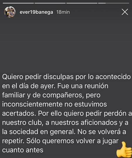 Imagen: Texto de Éver Banega en Instagram pidiendo perdón