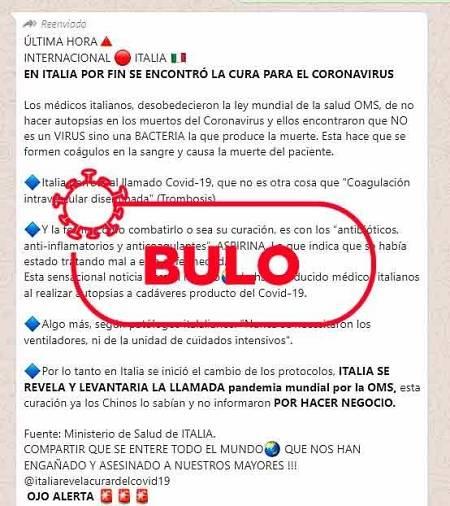 Captura del mensaje de whatsapp con el bulo en el que se habla de la cura del covid-19 en Italia.