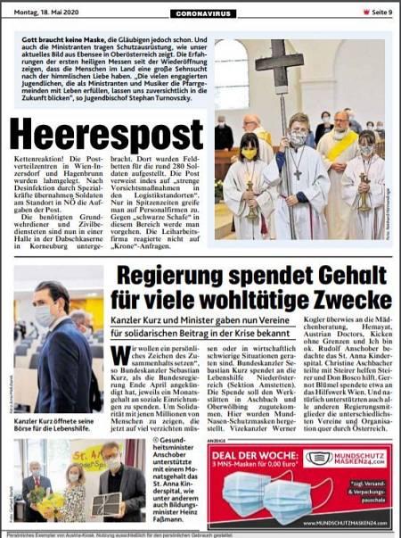 Noticia publicada el 18 de mayo por el Kronen Zeitung