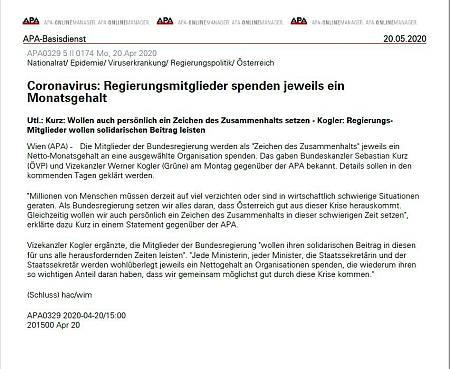 Teletipo publicado el 20 de abril por la agencia de noticias austriaca APA