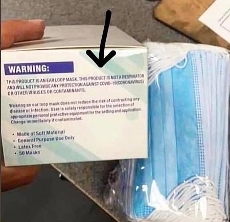 Caja de mascarillas norteamericanas con etiqueta y mascarillas.