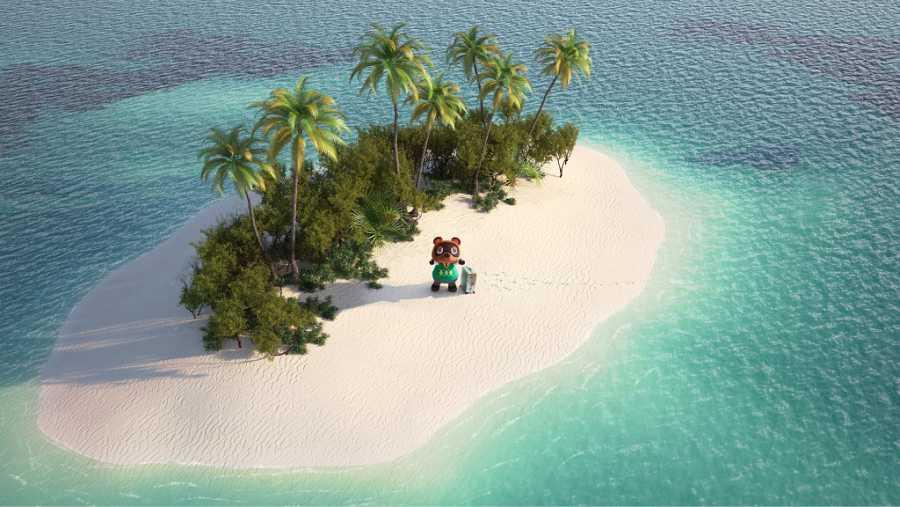 Tom Nook en la isla desierta de Animal Crossing: New Horizons