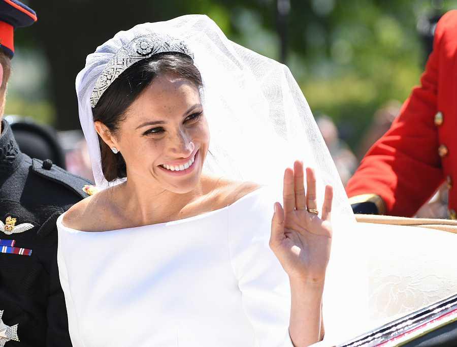 Primer plano de Meghan Markle en el día de su boda con el Príncipe Harry