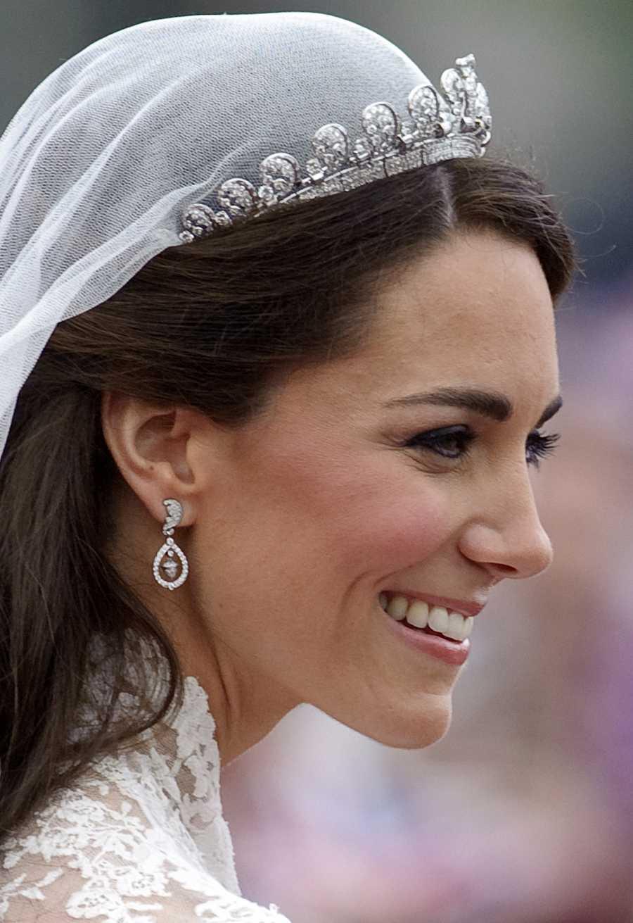 Primer plano de Kate Middleton, duquesa de Cambridge, después de su boda real