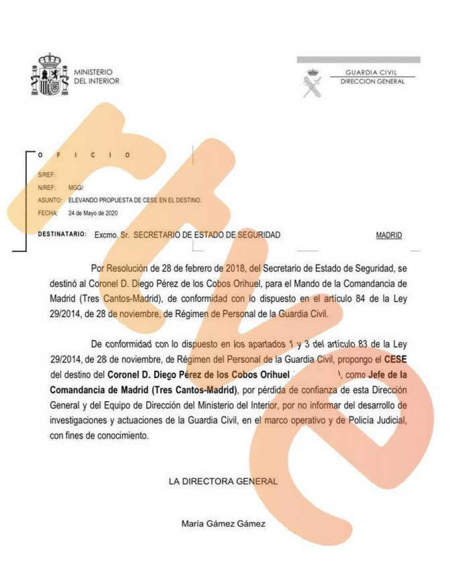 Documento del cese de Pérez de los Cobos firmado por María Gámez