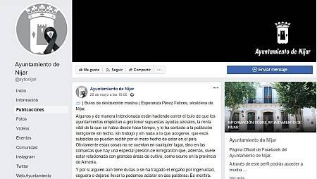 Captura de la carta publicada en Facebook por la alcaldesa de Níjar alertando sobre los bulos y las mentiras