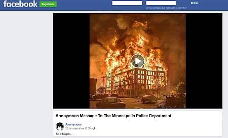 Captura de la cuenta de Anonymous en Facebook donde se publicó el vídeo.