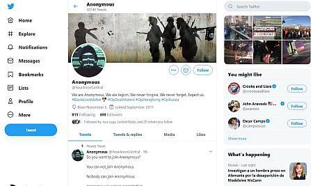 Captura de la portada de Anonymous en Twitter.
