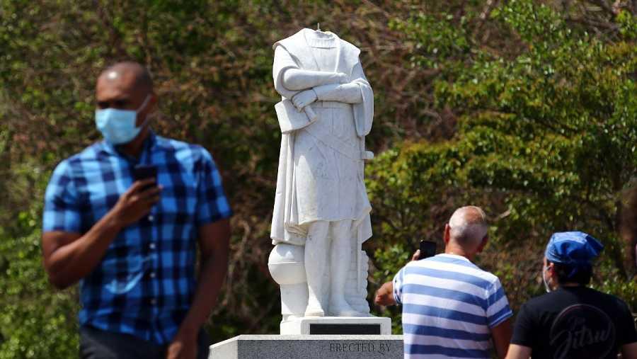 La estatua de Cristobal Colón ha sido decapitada en Boston, Massachusetts