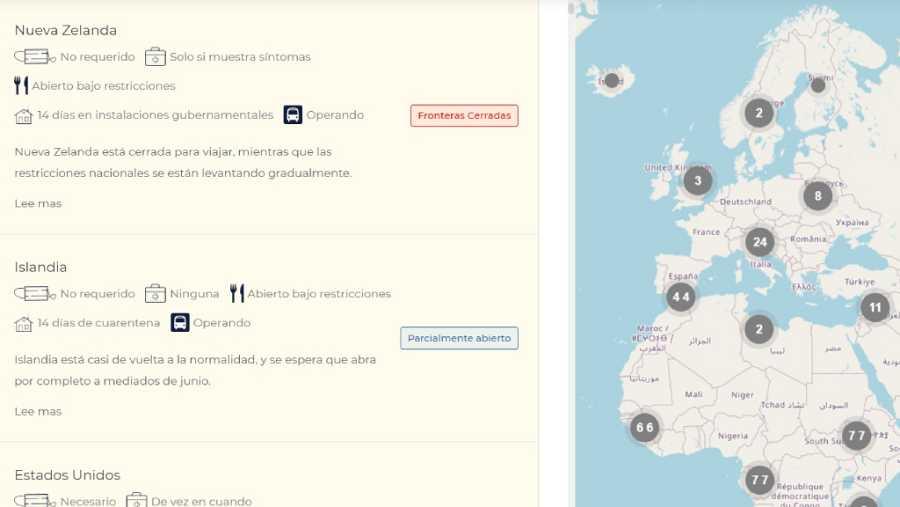 El mapa interactivo permite obtener información sobre cualquier país del mundo