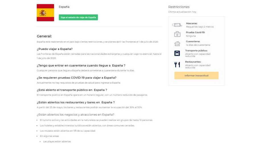 Ficha de España: uso de mascarilla, distancia de seguridad y cuarentena