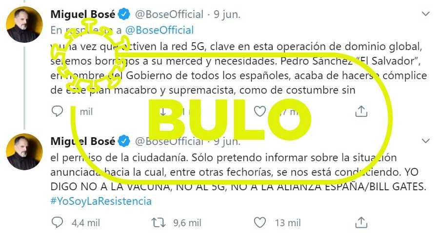 Imagen de uno de los tuits publicados por Miguel Bosé.