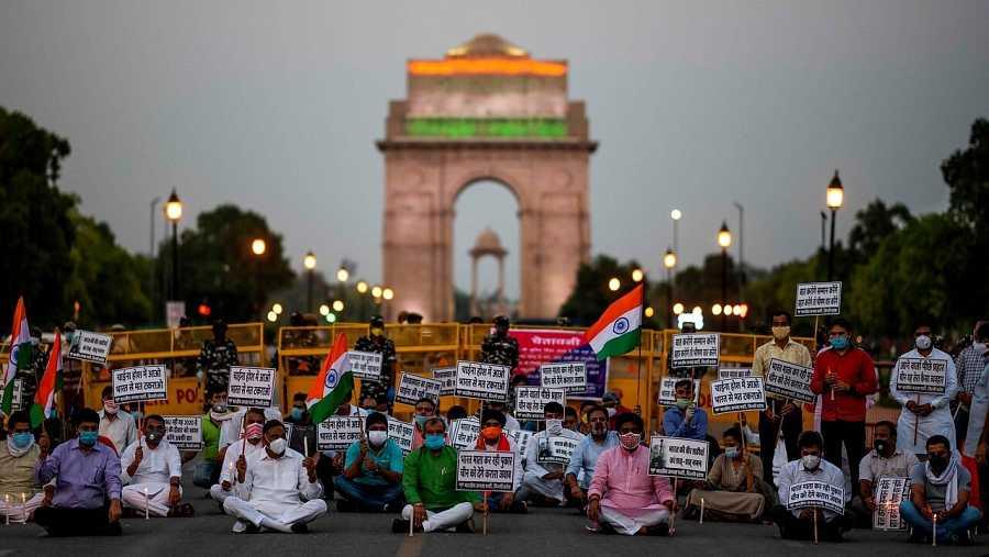 Manifestación contra China en Nueva Delhi