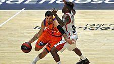El alero del Valencia Basket, Alberto Abalde, ante el escolta canadiense del Casademont Zaragoza, Dylan Ennis.
