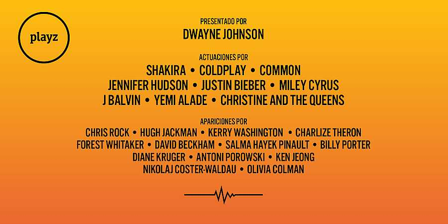 Cartel de artistas del concierto Global Goal de Playz