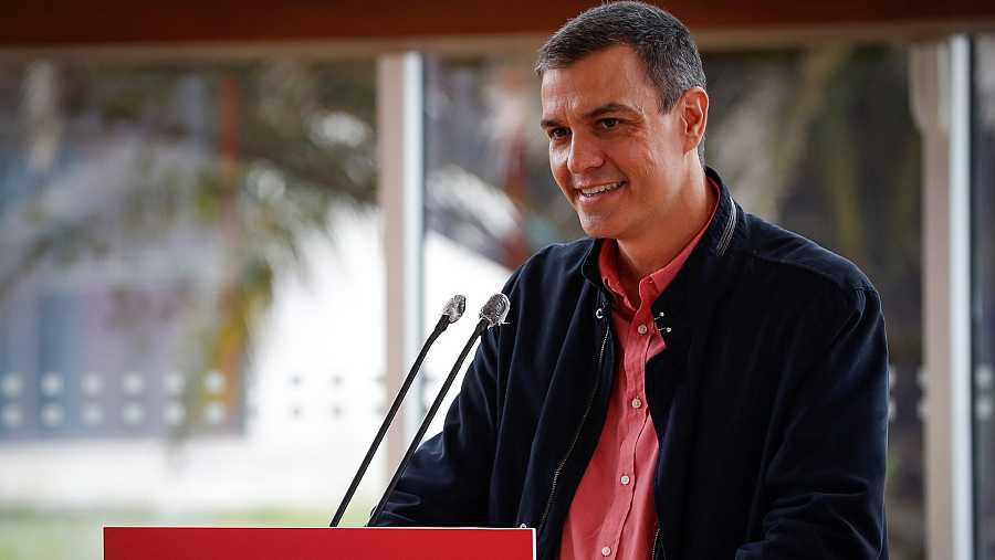 Pedro Sánchez, durante su intervención en un mitin en San Sebastián.
