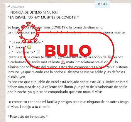 Captura del bulo compartido a través de whatsapp con información falsa sobre la cura del coronavirus.