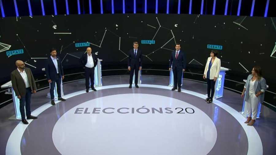 Elecciones gallegas 2020: Los candidatos en el debate a siete emitido este 29 de junio en la televisión pública gallega.