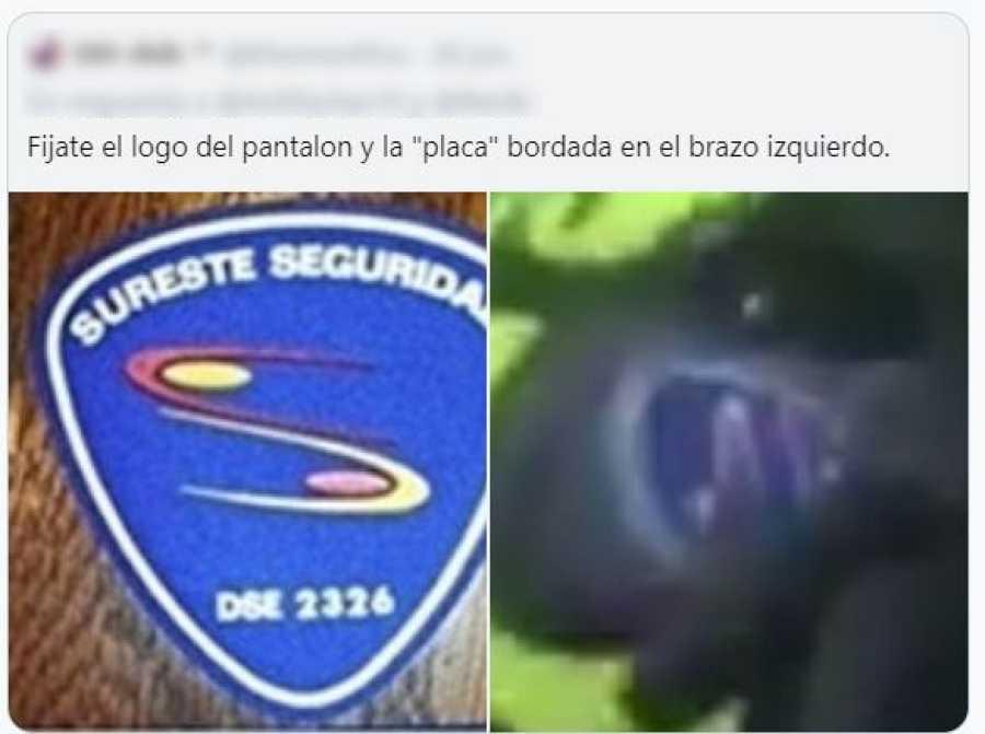 Uno de los usuarios de Twitter ha realizado una captura de la insignia que portan los dos individuos en sus uniformes
