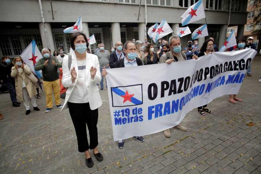 Ana Pontón, en una concentración en defensa de la titularidad estatal del Pazo de Meirás