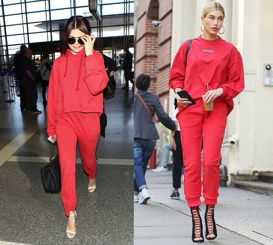 Selena Gómez y Hailey Baldwin, ropa deportiva de color rojo con sandalias de tacón