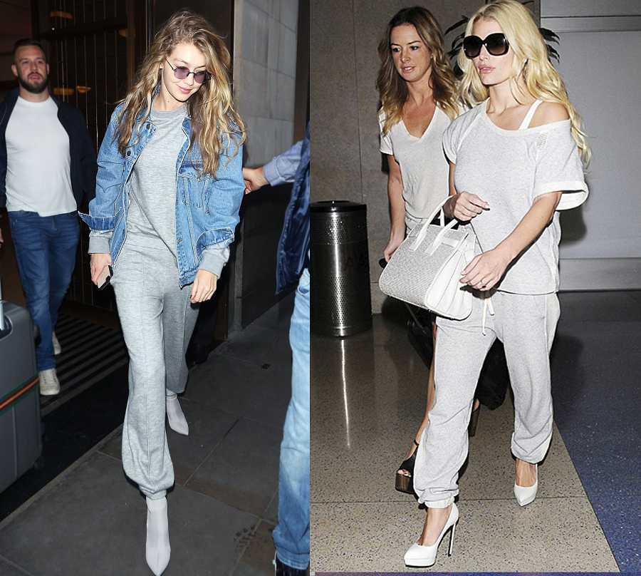 Gigi Hadid (izquierda) y Jessica Simpson (derecha). Las famosas eligen el chándal con zapato alto cuando viajan en avión, para ir y venir del aeropuerto.