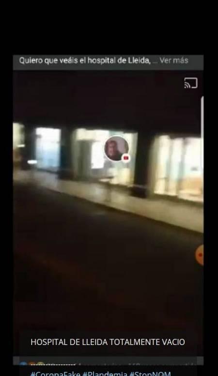 Captura de otro vídeo, grabado de noche, que insiste en que el hospital de Lleida está vacío.