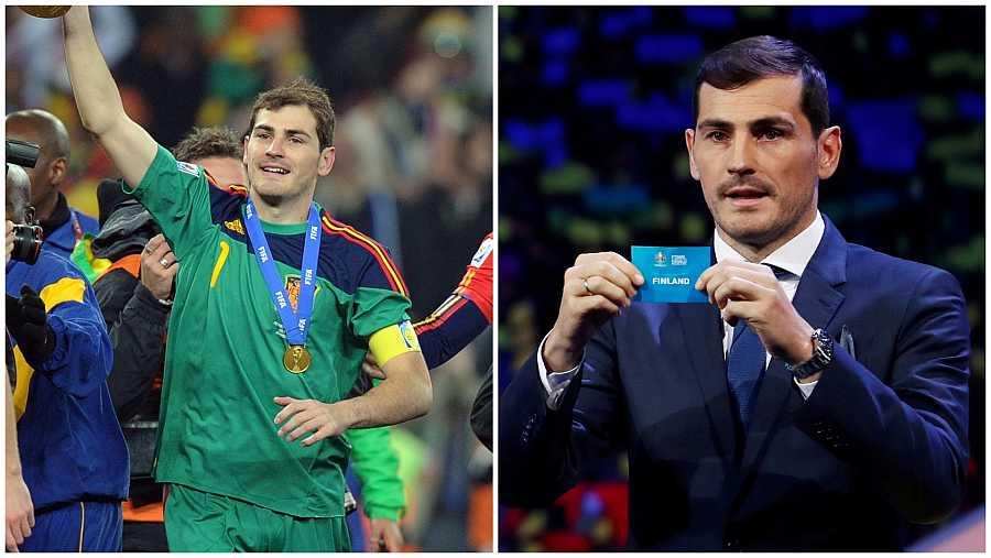 Íker Casillas durante el mundial de Sudáfrica 2010 y diez años después