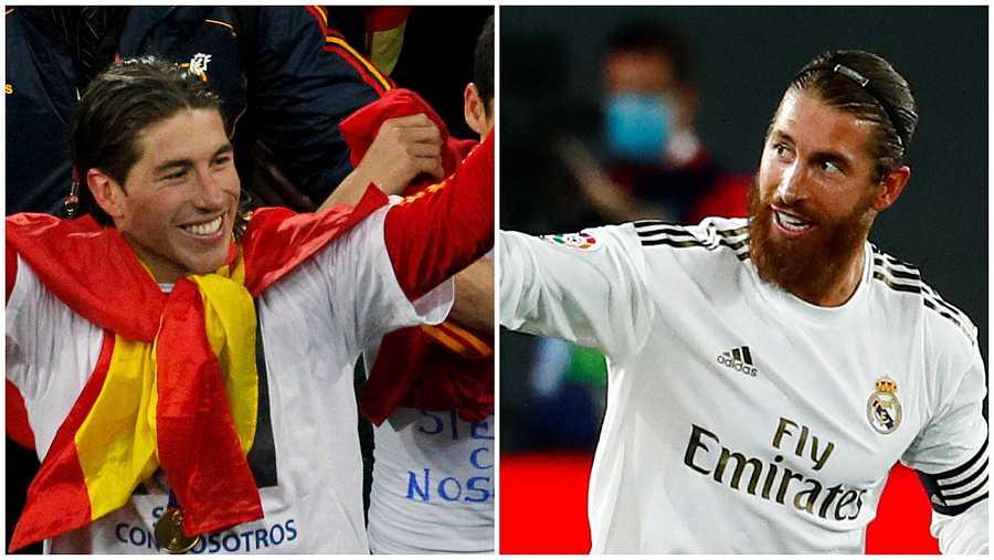 Sergio Ramos durante el mundial de Sudáfrica 2010 y diez años después