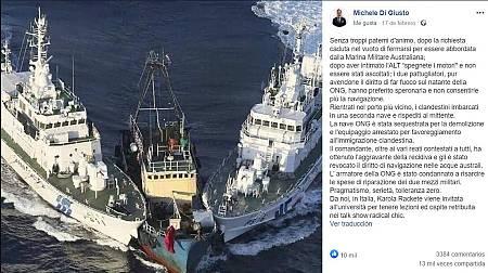 Captura del mensaje idéntico publicado en febrero de 2019 por un político italiano del partido ultraderechista Liga Norte.