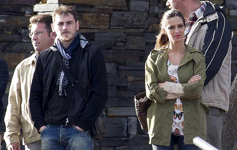 Íker Casillas y Sara Carbonero durante el rodaje del programa