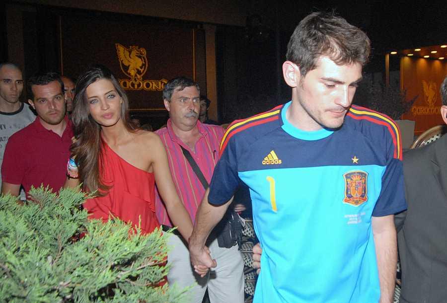 Íker Casillas y Sara Carbonero durante la celebración del Mundial en Madrid