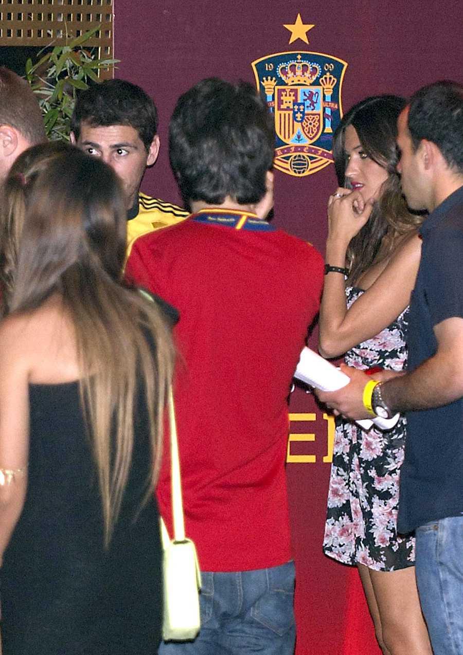 Sara Carbonero e Íker Casillas durante la celebración de la Eurocopa de 2012