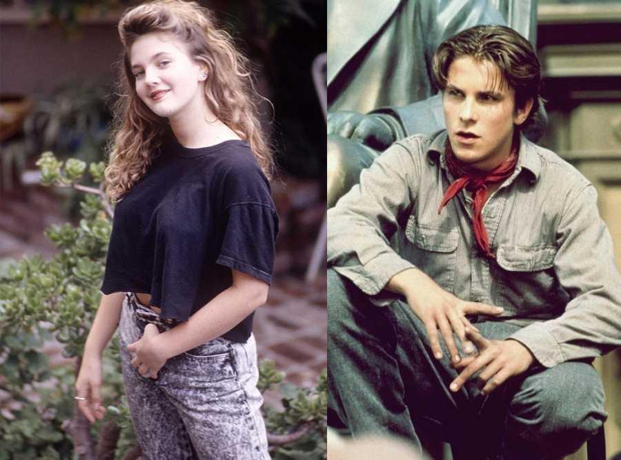 Una joven Drew Barrimore y un adolescente Christian Bale tuvieron una única cita romántica en el cine