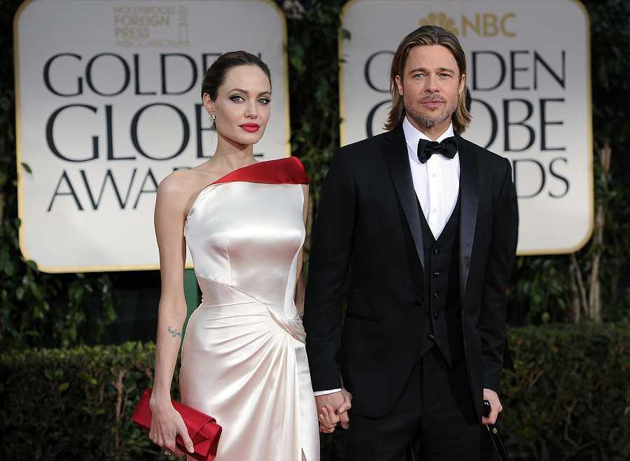 Angelina Jolie y Brad Pit en la 69ª edición de los Globos de Oro en Los Ángeles, en 2011
