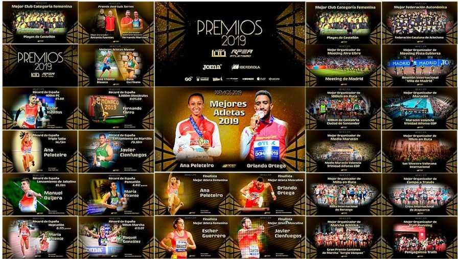 Imagen de todos los premiados en la gala de la Federación de atletismo
