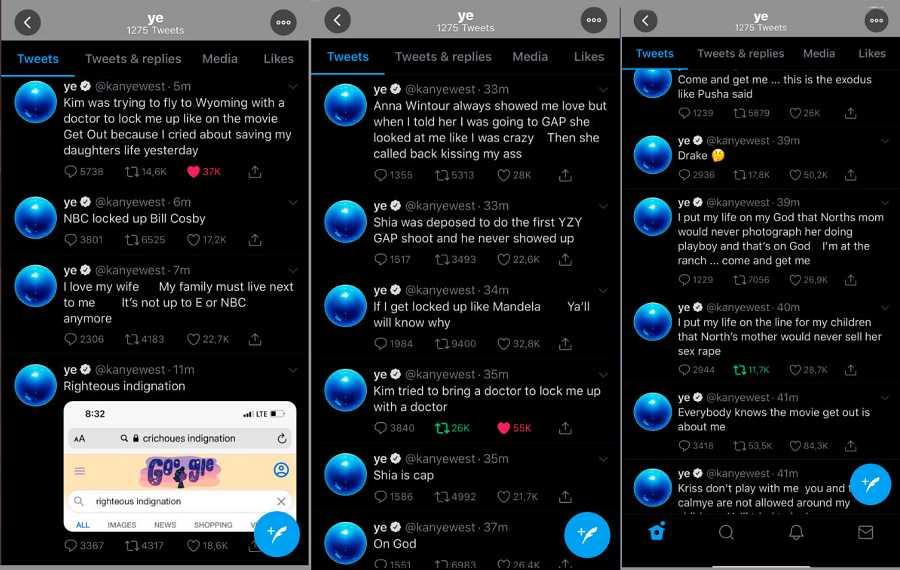 Tuits publicados por Kanye West en las últimas horas.