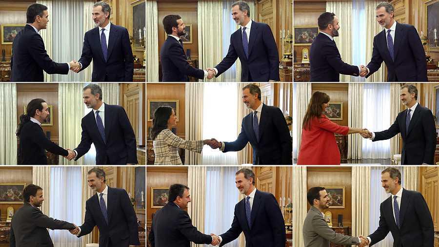 Felipe VI recibe a los líderes de las nueve formaciones con más representación en la segunda jornada de la ronda de consultas