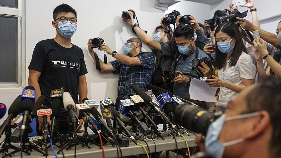 El activista político Joshua Wong a su llegada a la rueda de prensa en Hong Kong.