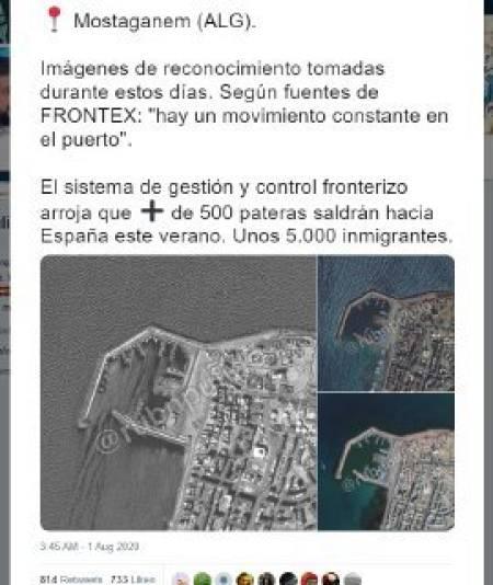 Captura del tuit con imagenes antiguas de la costa argelina que presenta como recientes.