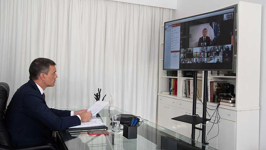 Sánchez, durante su intervención en la conferencia de ayuda al Líbano.