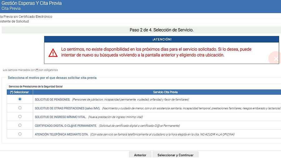 Mensaje que aparece en la página web de la Seguridad Social al tratar de pedir cita en 24 provincias españolas