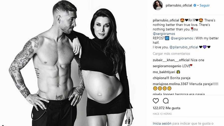 Sergio Ramos y Pilar Rubio posan en la recta final de uno de los cuatro embarazos de la presentadora